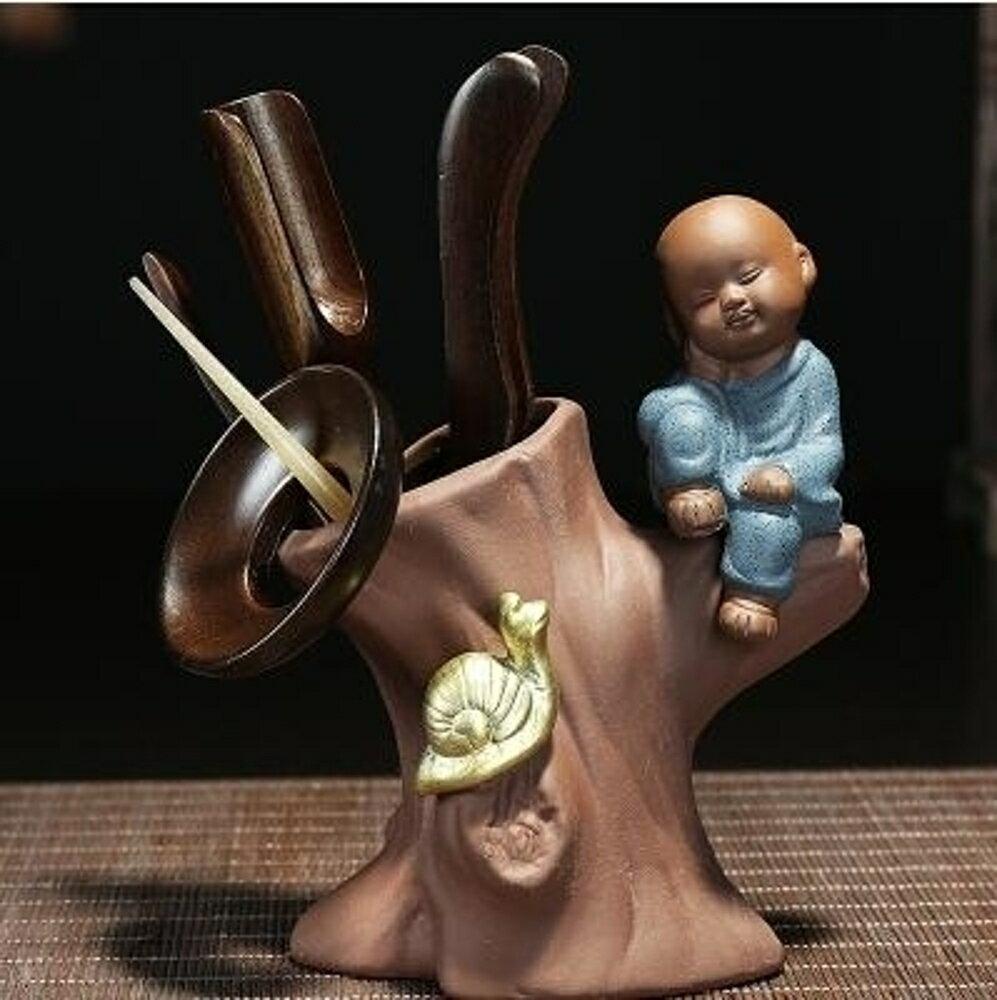 茶具配件 紫砂茶藝擺件創意功夫茶具用品配件黑檀木和尚茶道六君子套裝  阿薩布魯