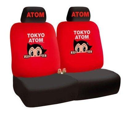 權世界@汽車用品 原子小金剛 東京珍藏版 汽車前座椅套(2入) 紅色 AB-05002