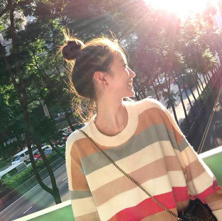 甜美主題.彩虹條圓領針織長袖上衣- shiny藍格子【V3032】 3