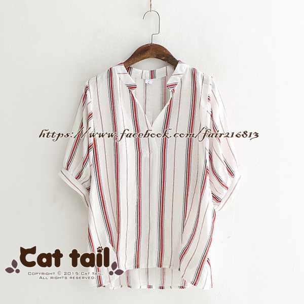 《貓尾巴》LZ-03228簡約個性後背鈕扣條紋短袖上衣(森林系日系棉麻文青清新)