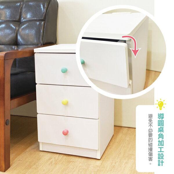 收納櫃 置物櫃 邊櫃 床頭櫃 馬卡龍系列日系床頭櫃(三抽屜-大款) (附插座) 天空樹生活館 2
