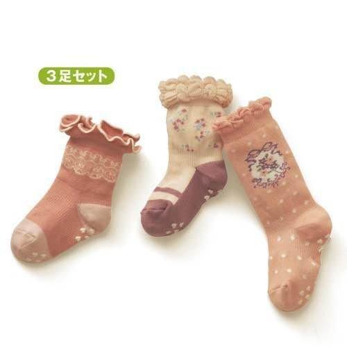 =優生活=日單 新千趣會女寶寶花邊松口襪 木耳邊兒童襪 女童襪 有防滑顆粒 三入一組