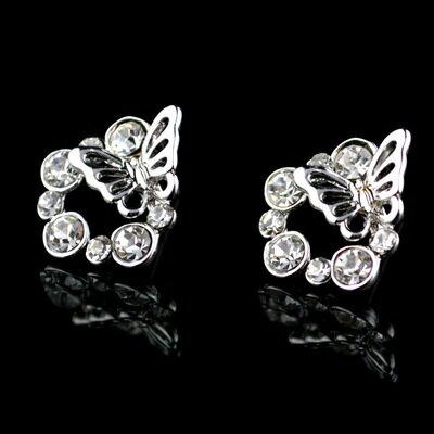 ~925純銀耳環鑲鑽耳飾~翩翩起舞蝴蝶 情人節生日 女飾品73hz60~ ~~米蘭 ~