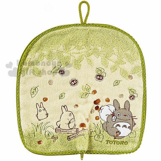 〔小禮堂〕宮崎駿 Totoro 龍貓 多功能毛巾布水壺袋《綠.朋友.樹葉》可裝500ml水瓶