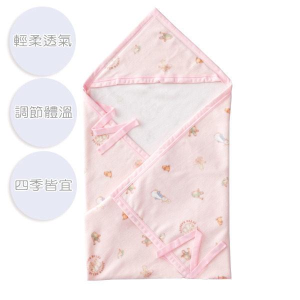奇哥 比得兔 棉柔帽帶毯/包巾/彌月禮(85x100cm)-粉色