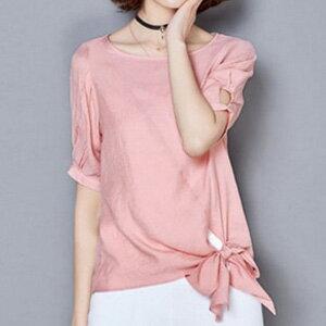 [現貨出清] 純色綁帶造型顯瘦上衣(4色)-M-2XL - 梅西蒂絲