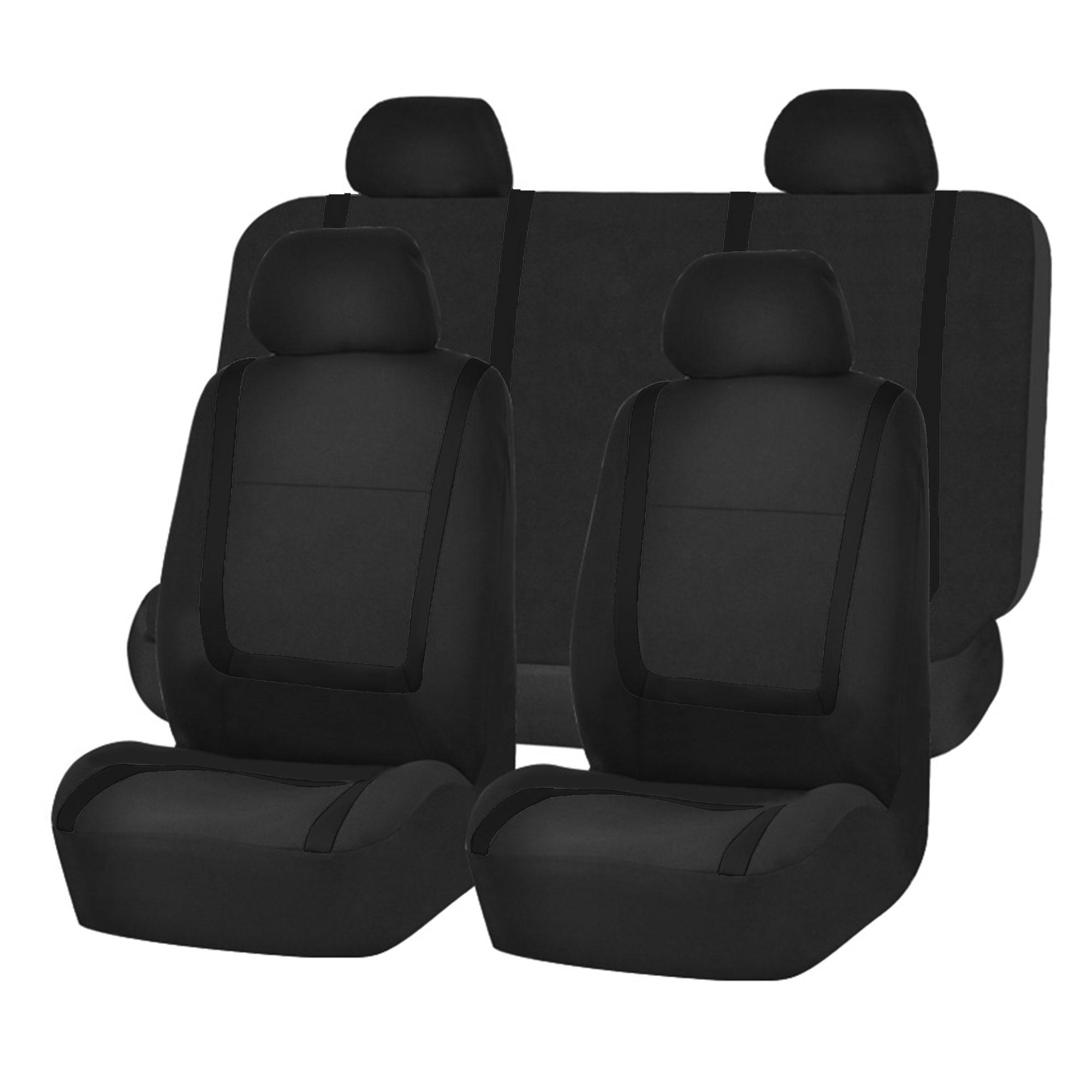 BESTFH | Rakuten: Car Seat Covers Solid Black Combo Set For Auto w ...