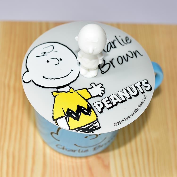 SNOOPY 查理布朗 陶瓷馬克杯 矽膠杯蓋 正版 日本製 300ml