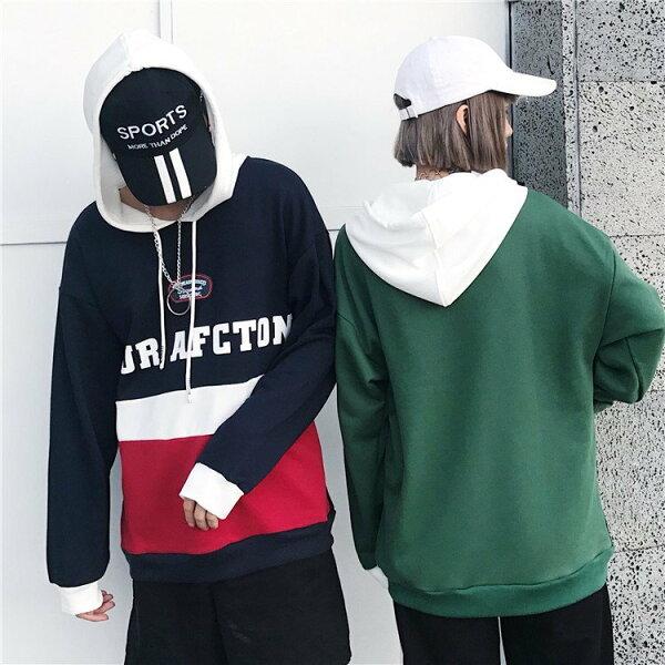 FINDSENSEZ1日系時尚潮男女情侶款時尚拼色字母連帽外套衛衣外套