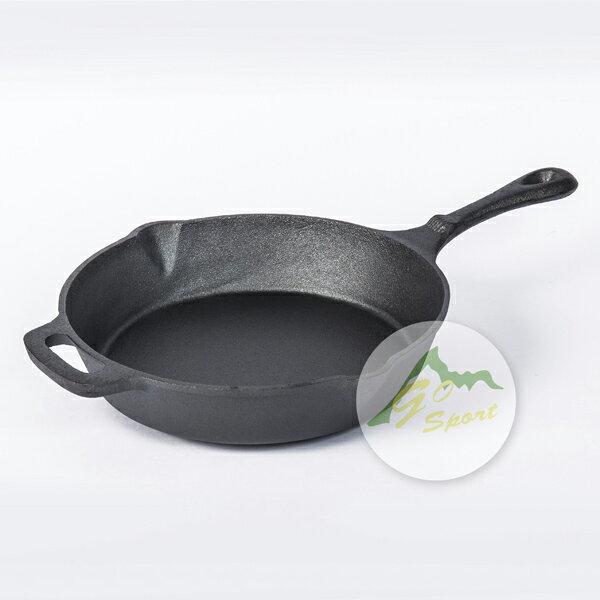 【露營趣】中和 GO SPORT 40442 10吋圓形鑄鐵烤盤 平底鍋 煎鍋 烤盤 鑄鐵鍋 CM-21880