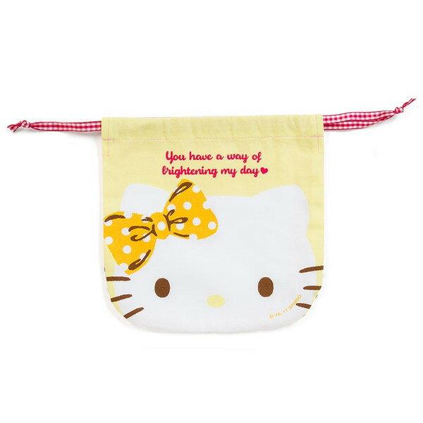 【真愛日本】17083000044 日本製純棉雙面束口袋-KT大臉 三麗鷗 kitty 凱蒂貓 化妝包 收納包