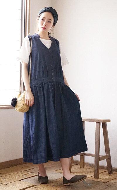 日本e-zakka / 長版無袖牛仔連衣裙 / 32593-1801252  / 日本必買 代購 / 日本樂天直送(5900) 7