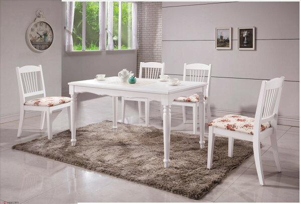 【石川家居】YE-A457-04海倫鄉村白色4.3尺餐桌(不含餐椅及其他商品)台北到高雄搭配車趟免運