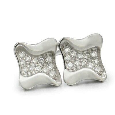 925純銀耳環鑲鑽耳飾~ 典雅氣質 情人節 女飾品2色73dm114~ ~~米蘭 ~