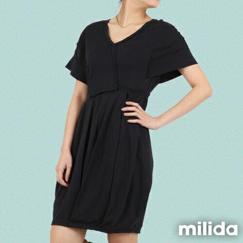 【Milida,全店七折免運】-早春商品-V領款-花苞百褶洋裝 2