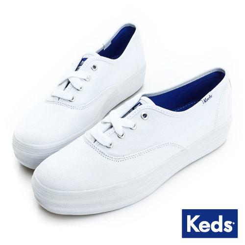 KEDS 171W130026 經典厚底帆布鞋 白鞋綁帶懶人鞋厚底休閒鞋 0