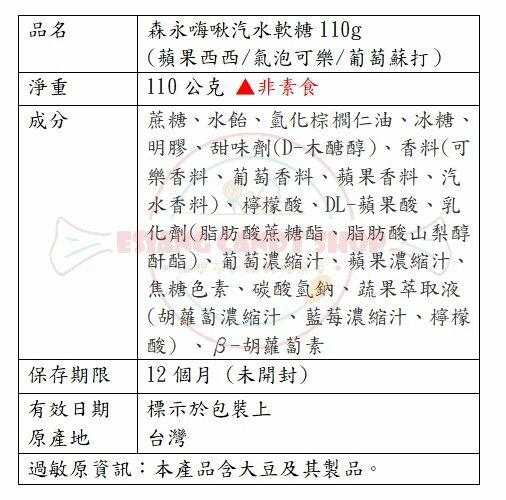 【森永】 嗨啾汽水軟糖110g(蘋果西西  /  氣泡可樂  /  葡萄蘇打)110g 1