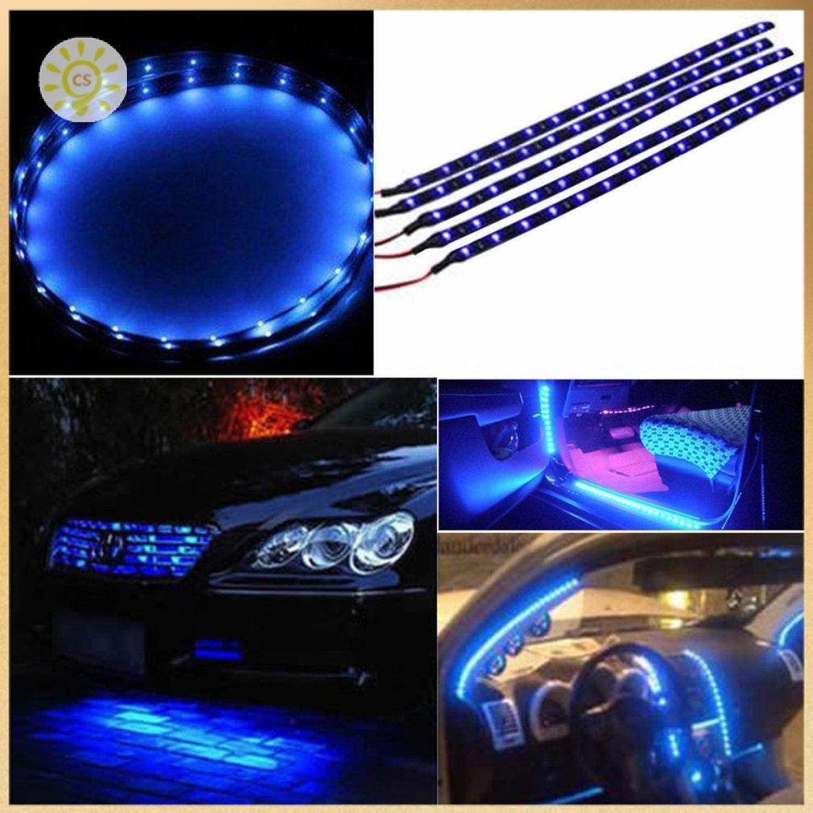 【全館免運】30cm防水15藍色LED汽車車輛電機格柵柔性燈條12V clickstorevip