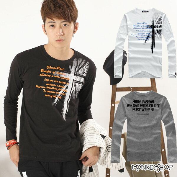 【A73950】MIT台灣製日韓系英國國旗肩面印花圓領長袖T恤-3色《MonkeyShop》