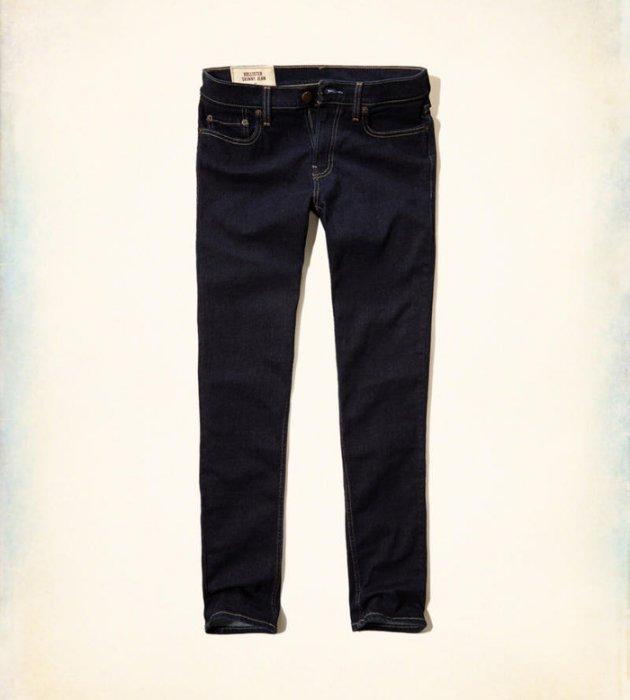 美國百分百【全新真品】Hollister Co. 褲子 HCO 長褲 牛仔褲 海鷗 skinny 窄管 深藍色G794 G794