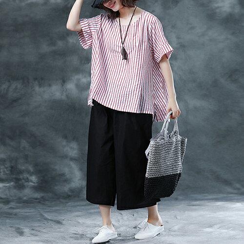 韓版寬鬆條紋上衣九分褲兩件套(2色M~2XL)【OREAD】 0