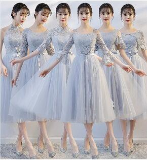 天使嫁衣【BL329C】灰色6款蕾絲花網收腰澎感中長款禮服˙預購訂製款