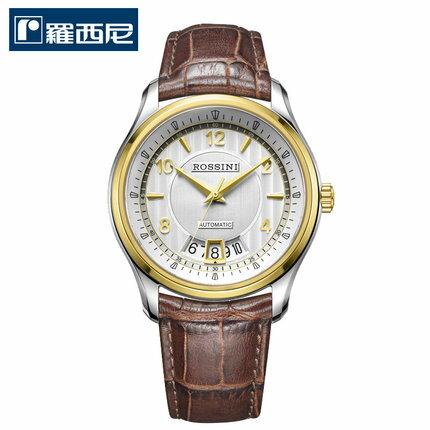 美琪 ROSSINI復古金間金框真皮防水精品男士錶7593