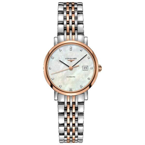 LONGINES浪琴表L43105877雙色優雅晶鑽經典腕錶珍珠母貝面29mm