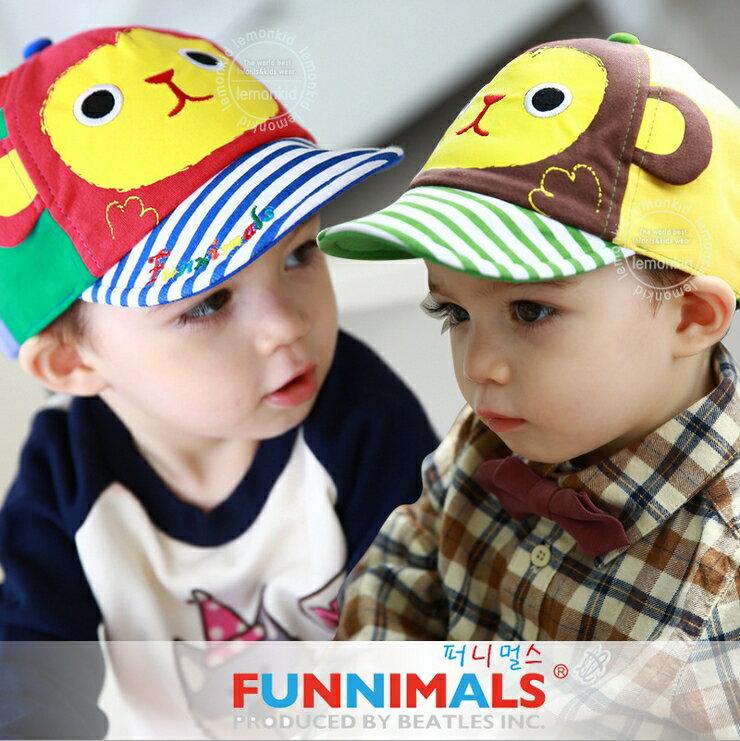 Funnimals◆可愛大耳猴立體耳朵卡通條紋帽兒童鴨舌帽