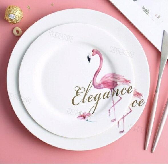 紅鶴花色圓盤下午茶盤子IG打卡拍照8吋餐盤10吋早餐盤2盤組雙盤-多款【AAA4041】