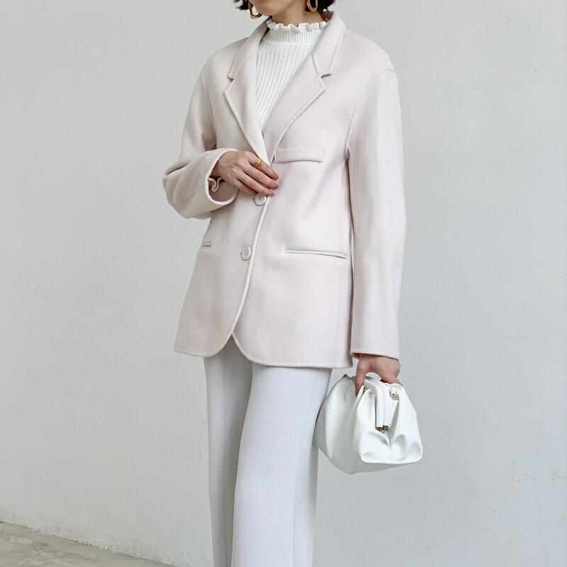 毛呢大衣羊毛外套-短版純色寬鬆翻領女外套5色73wb17【獨家進口】【米蘭精品】 1