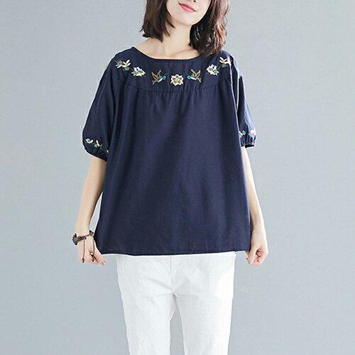 圓領刺繡棉麻大碼短袖T恤(5色L~XL)【OREAD】 3