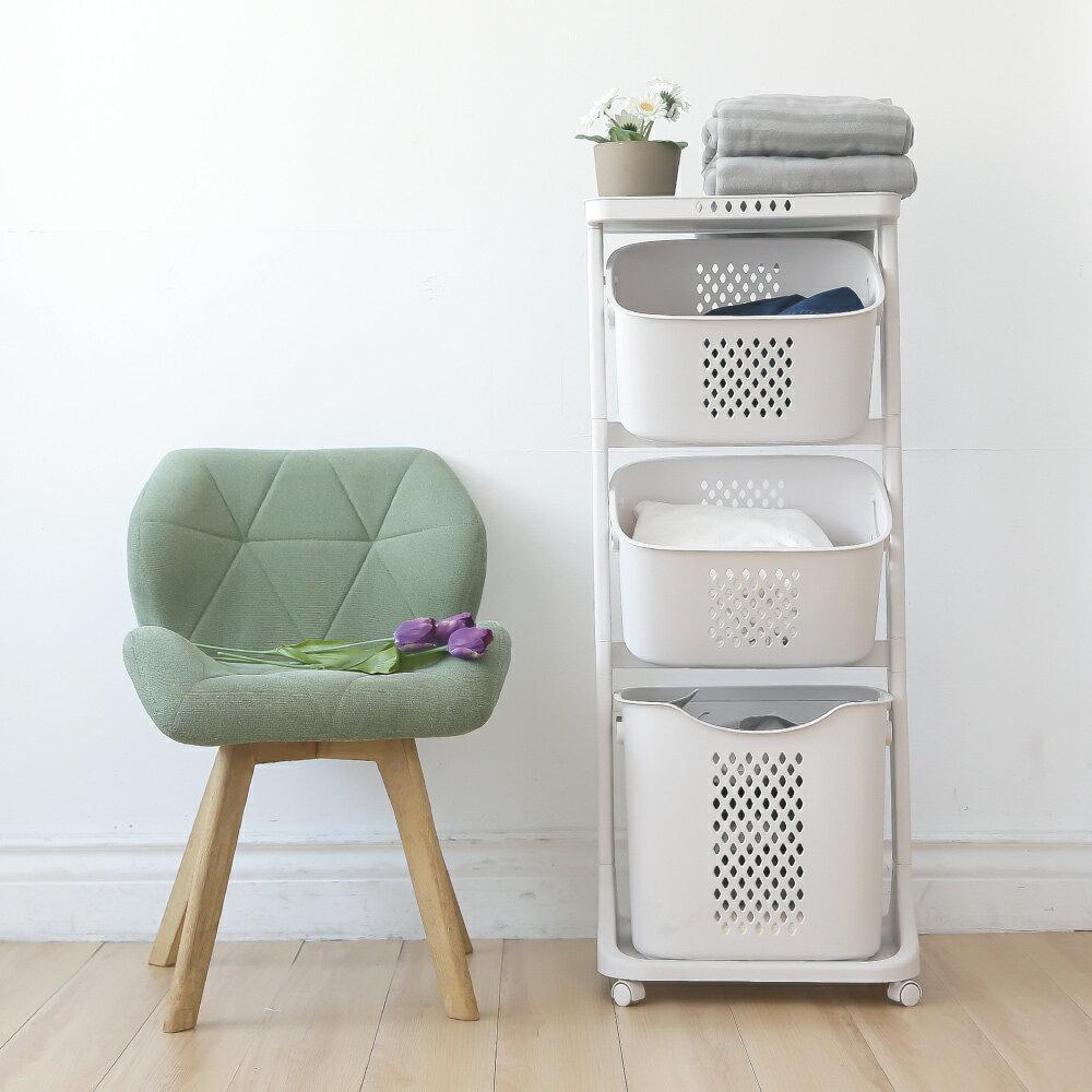 洗衣籃架 / 洗衣籃車 / 衣物分類 Kira三層收納髒衣籃(附輪) 完美主義【F0077】 0