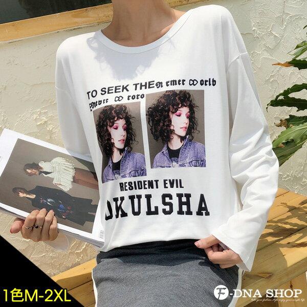 下殺199元★F-DNA★捲髮女孩印圖圓領長袖上衣T恤(白-M-2XL)【ET12857】