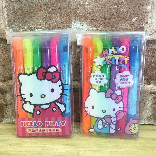 【真愛日本】17071300001 六色果凍螢光筆-KT兩款 三麗鷗 Hello Kitty 凱蒂貓 文具 螢光筆 記號筆