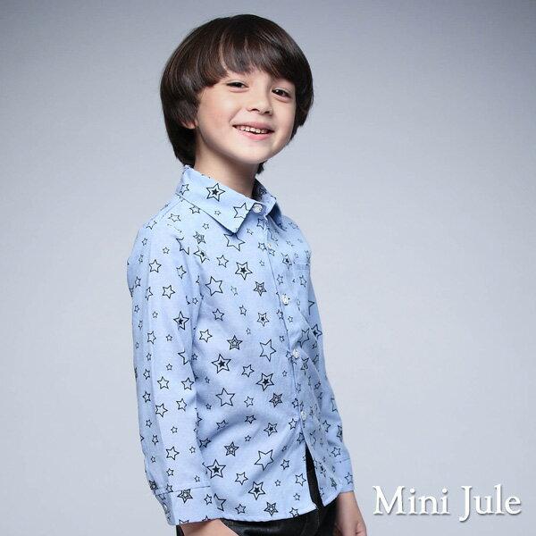 Azio Kids美國派:《MiniJule童裝》襯衫滿版大小星星單口袋長袖襯衫(藍)