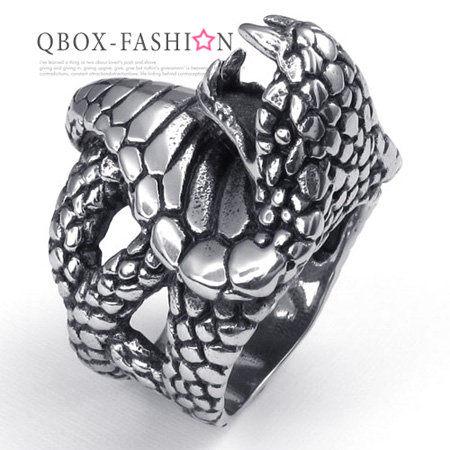 《 QBOX 》FASHION 飾品【W10022500】精緻個性立體眼鏡蛇鑄造316L鈦鋼戒指/戒環