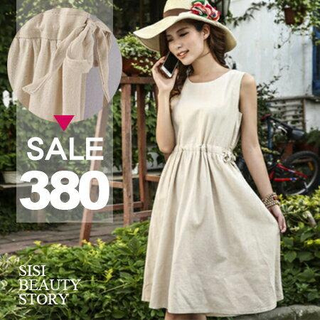 SISI~D6127~復古森林系無袖修身抽繩中長款棉麻連身裙背心裙洋裝