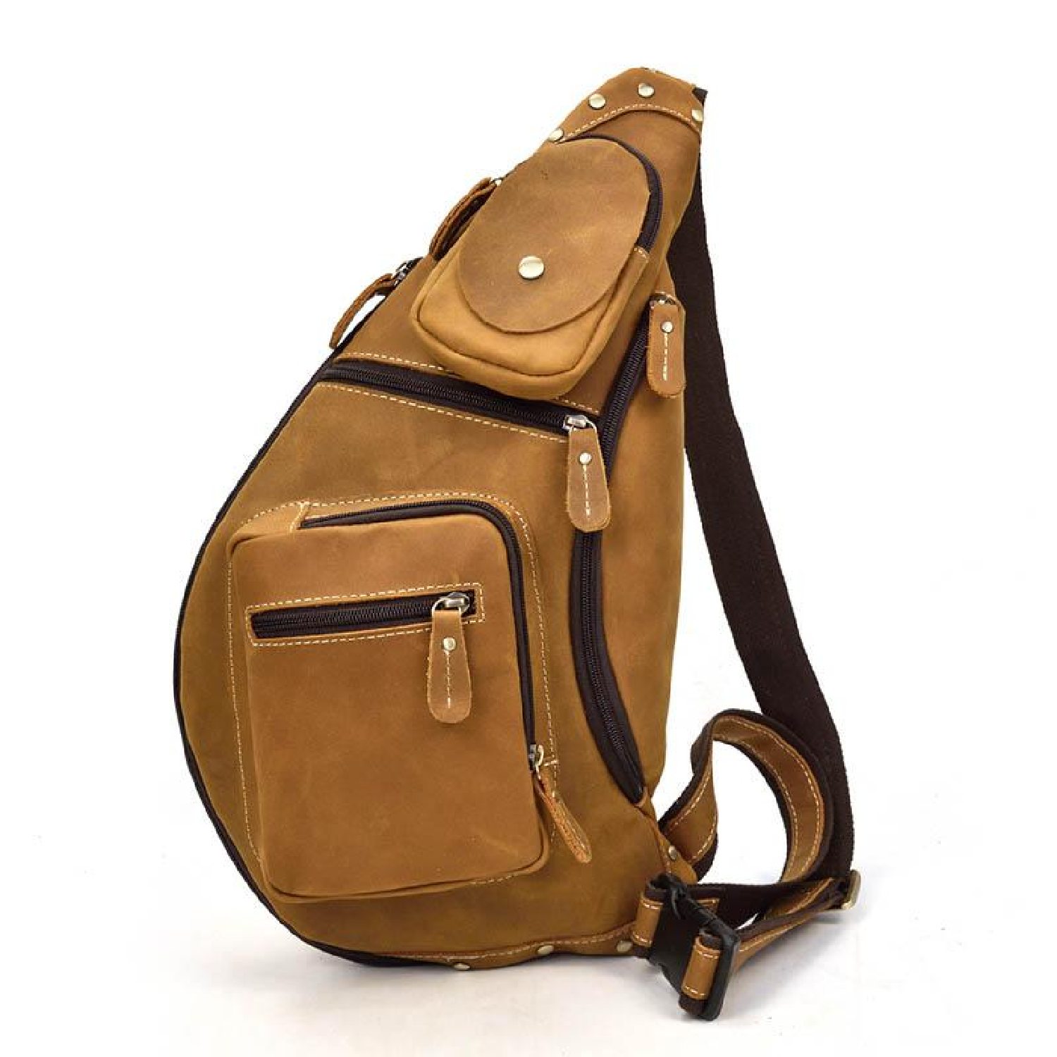 f990c3724d721 Bag Vintage Crazy Horse Chest Sling Men Leather Crossbody Pack Day Back  Brown Cowhide Travel Genuine