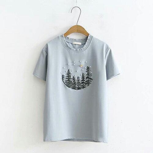 刺繡釘珠寬鬆套頭圓領短袖T恤(4色F碼)【OREAD】 2