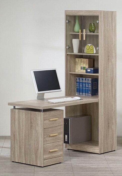 【尚品家具】956-01 橡木紋L型三抽多功能書桌(另有集成木色)