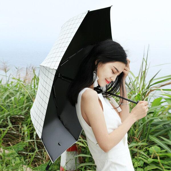 [免運]格紋10骨黑膠自動遮陽傘防曬傘晴雨兩用傘VYM3819