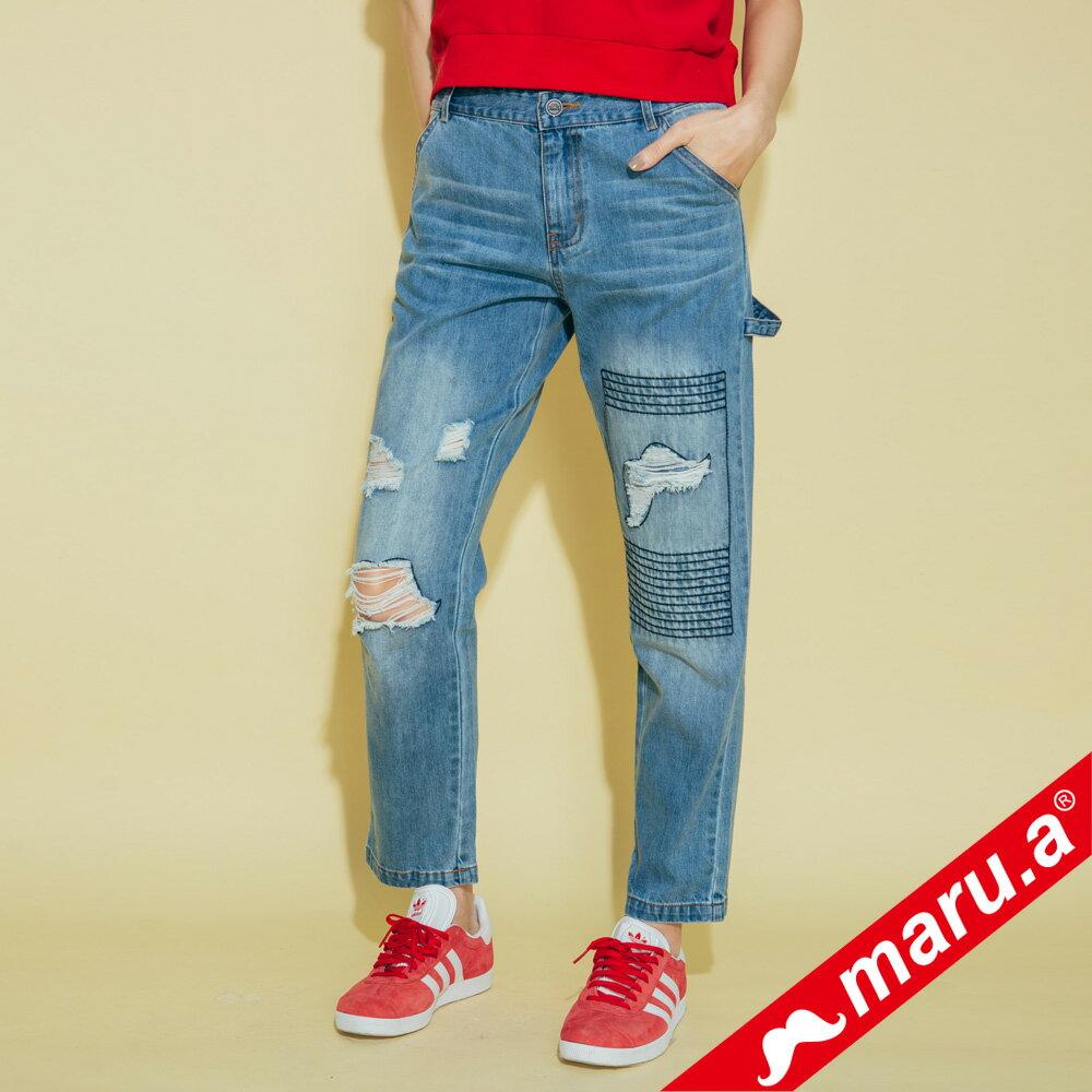 【maru.a】刷破鬍子車線裝飾後口袋小船印花牛仔長褲(2色)8325215 0
