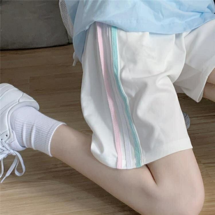五分褲 運動休閒短褲女夏季寬鬆正韓高腰顯瘦闊腿直筒五分中褲子
