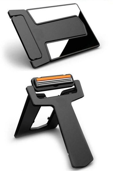 PS Mall╭~超 隨身攜帶薄式可折疊卡片刮鬍刀 卡片式剃鬍刀 信用卡刮鬍刀~J231~