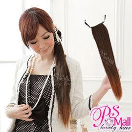 PS Mall輕鬆簡易上手 綁式緞帶立體直馬尾假髮 高溫髮絲 可電棒燙【P027】