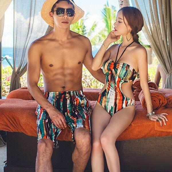 PS Mall 系性感 情侶三角連身聚攏 遮肚比基尼泳衣游泳衣溫泉沙灘BIKINI 沙灘褲