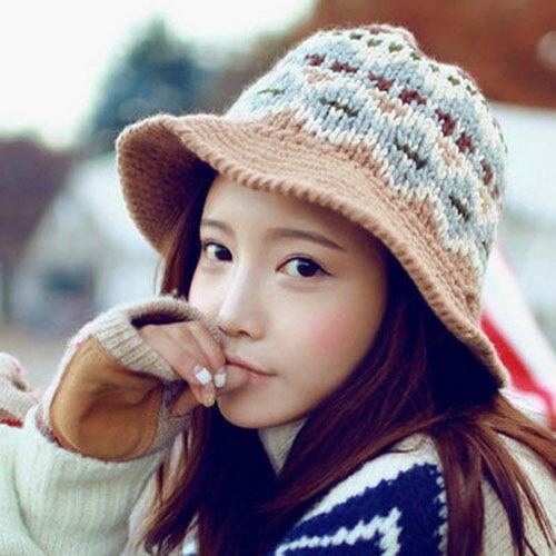 PS Mall 可愛提花復古圖案針織毛帽 盆帽保暖毛線帽 毛帽子~G1709~