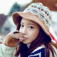 保暖配件推薦PS Mall 韓版可愛提花復古圖案針織毛帽 盆帽保暖毛線帽 毛帽子【G1709】