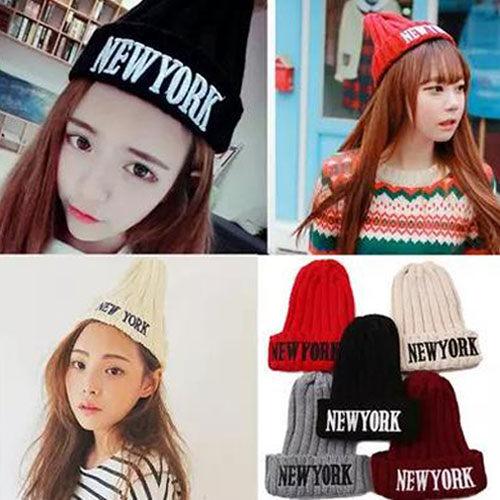 PS Mall 韓版秋冬 NEW YORK毛線帽刺繡針織帽 百搭尖尖帽 遮陽帽子 毛帽【G1715】